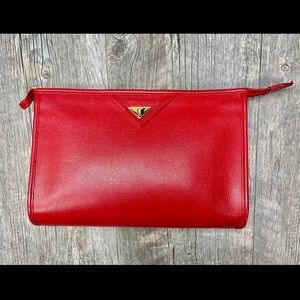 Yves Saint Laurent Red Logo Plate Clutch